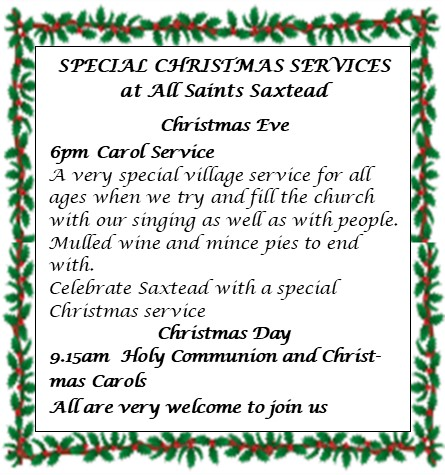 Saxtead Christmas services 2019
